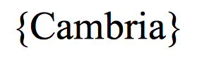 tipografia Cambria