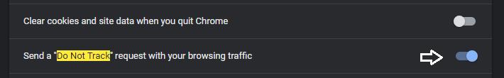 """Ejemplo de """"Do Not Track"""" en Google Chrome"""