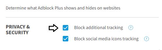 Opcionales adicionales para bloquear el rastreo