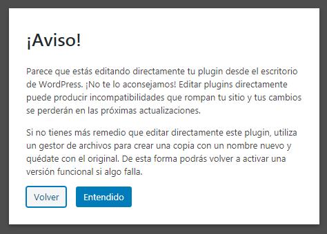 Aviso de seguridad de WordPress