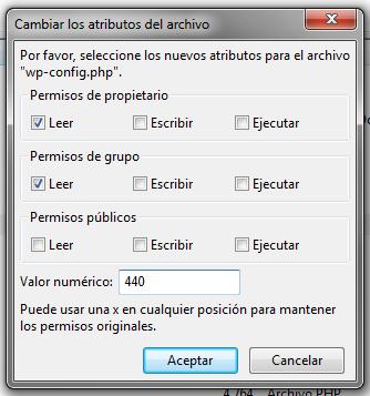 Ejemplo de editar los permisos de wp-config.php de WordPress